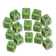 Q-Workshop: Battle Dice Set German D6 Green/Black (15)