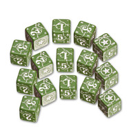 Q-Workshop: Battle Dice Set USA D6 Green/White (15)