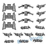 WARHAMMER 40K BITS: CHAOS SM CHAOS BIKERS - ARMS/T-L BOLTERS/FRONTS x3