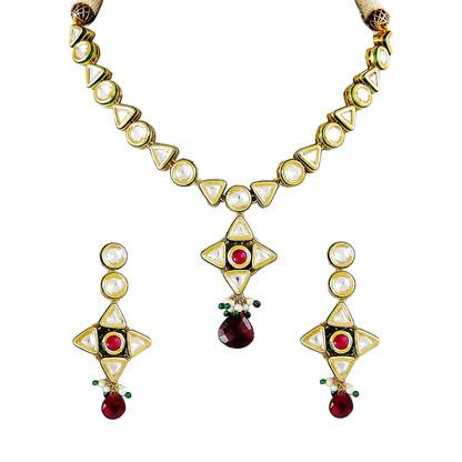 1 Gram Gold Kundan Necklace Set