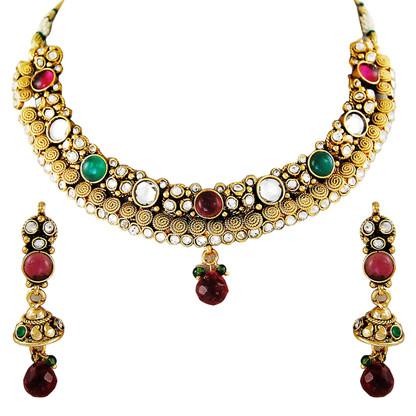 1 Gram Gold Kundan Necklace Set 3