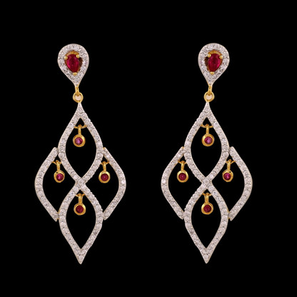 1 Gram Gold American Diamond Earrings 41