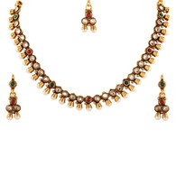 1 Gram Gold Studded Necklace Set 49