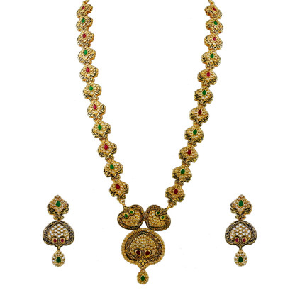 1 Gram Gold Studded Necklace Set 68