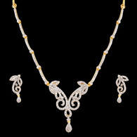 1 Gram Gold  American Diamond Necklace Set 71