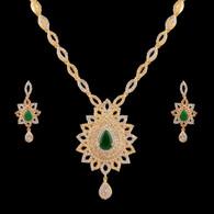 1 Gram Gold  American Diamond Necklace Set 74
