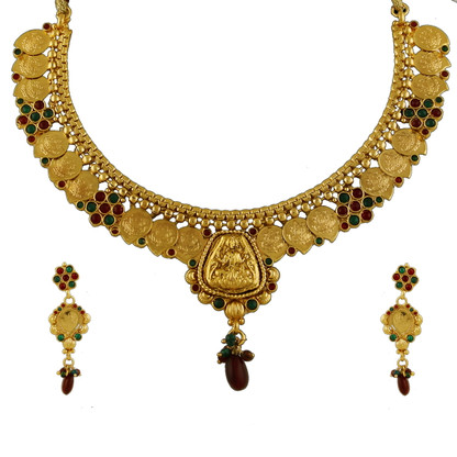 1 Gram Gold Temple Necklace Set 82