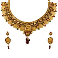 1 Gram Gold Temple Necklace Set 83
