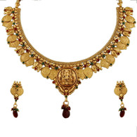 1 Gram Gold Temple Necklace Set 84