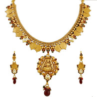 1 Gram Gold Temple Necklace Set 86