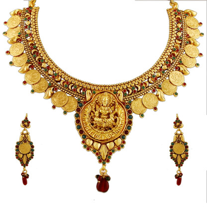 1 Gram Gold Temple Necklace Set 92