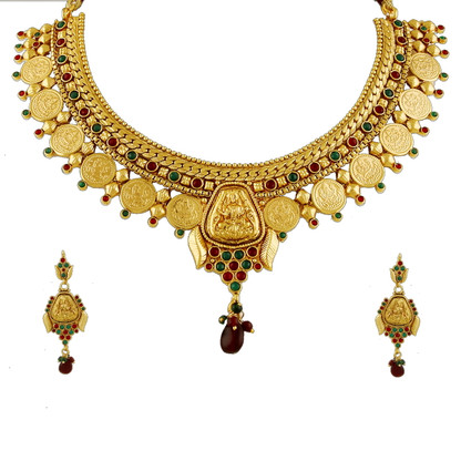 1 Gram Gold Temple Necklace Set 95