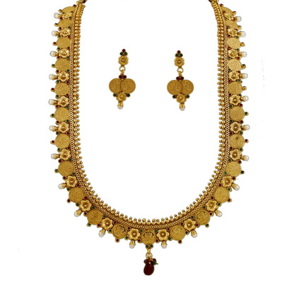 1 Gram Gold Temple Necklace Set 99