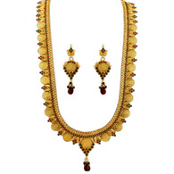 1 Gram Gold Temple Necklace Set 100