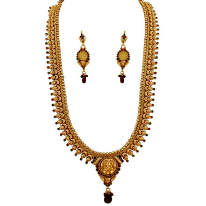 1 Gram Gold Temple Necklace Set 101