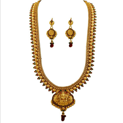 1 Gram Gold Temple Necklace Set 103