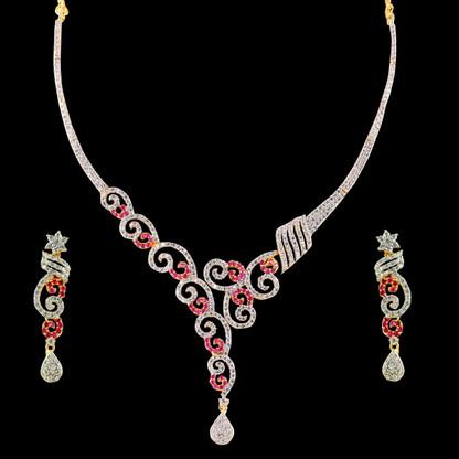 1 Gram Gold  American Diamond Necklace Set 107