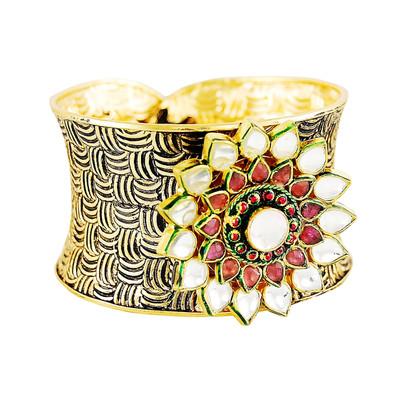 1 Gram Gold Kundan Cuff Bracelet