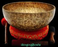 "New Tibetan Singing Bowl #8511 : Jambati 13 1/4"" Diameter, Contemporary, F#2 & D#6."