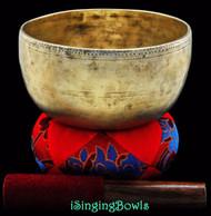 """Antique Tibetan Singing Bowl #7820 : Special 7 1/8"""", circa 17th century, G#3 & D5."""