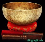 "New Tibetan Singing Bowl #8011b : Jambati  8"" Diameter, Contemporary, F#3 & C5."
