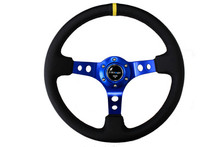 "NRG 350mm Sport Steering Wheel (3"" Deep) - Blue w/ center marking (ST-006-BL-Y)"