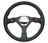 NRG 320mm Sport Leather Steering Wheel w/ Dual Button (ST-007R)