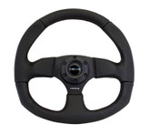 NRG 320mm Sport Leather Black Steering Wheel Oval