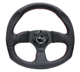 NRG 320mm Sport Leather Steering Wheel Oval - Red Stitch