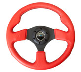 NRG 320mm Sport Leather Steerign Wheel Red leather w/ Black Stitching (ST-012RR-BS)