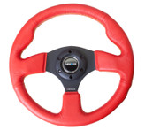 NRG 320mm Sport Leather Steering Wheel Red Leather w/ Yellow Stitching (ST-012RR-YS)