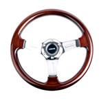 ST-015-1CH Classic Wood Grain Wheel, 330mm, 3 spoke center in chrome