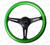 ST-015BK-GN Classic Wood Grain Wheel, 350mm, 3 spoke center in black - Green