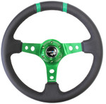 "NRG 350mm Sport Steering Wheel (3"" Deep) Green w/ Green Double Center Marking (ST-016R-GN)"