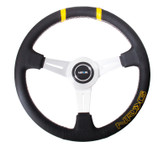 NRG 360mm Sport Steering wheel - Black leather w/ White stitching. Double yellow Center Marking, yellow stitched NRG logo (ST-028BK-Y)