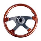 ST-075-BK Classic Wood Grain Wheel, 350mm, 4 spoke center in black