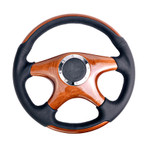 ST-085 Classic Wood Grain Wheel, 350mm, 4 spoke center in wood, Leather wheel with wood accents