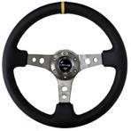 """NRG Steering Wheel - 3"""" Deep Dish - Black Leather - Gun Metal Spoke (ST-006GM-Y)"""