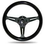ST-015BK-BK Classic Wood Grain Wheel, 350mm, 3 spoke center in black - Black