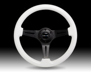 ST-015BK-YG (ST-015BK-GL) Classic Luminor White Wood Grain Wheel, 350mm, 3 spoke center in BLACK