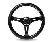 "ST-055BK-BK Classic Black Wood Grain Wheel (3"" Deep), 350mm, 3 spoke center in Black Chrome"