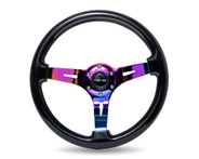 "ST-055BK-MC Classic Black Wood Grain Wheel (3"" Deep), 350mm, 3 spoke center in Neochrome"