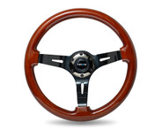 "ST-055BR-BK Classic Dark Wood Grain Wheel (3"" Deep), 350mm, 3 spoke center in Black Chrome"