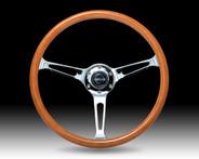 Classic Wood Grain Wheel, 360mm, 3 spoke center in chrome