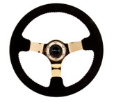 "NRG 350mm Race Series Steering wheel (3"" Deep) - Black Suede w/ Red Stitching - Gold Center"