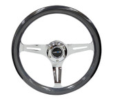 NRG Classic Chameleon Wood Grain Wheel 350mm Chrome 3 spoke center