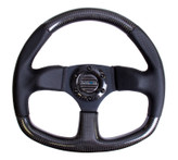 NRG 320mm Flat Bottom Carbon Fiber with Black Leather Black Stitch Steering Wheel