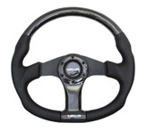 NRG 350mm Flat Bottom Carbon Fiber Spoke with Black Leather Steering Wheel