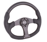 NRG 350mm Flat Bottom Oval Carbon Fiber Spoke Black Leather Steering Wheel