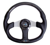 NRG 350mm Flat Bottom Oval Carbon Fiber Silver Spoke Black Leather Steering Wheel